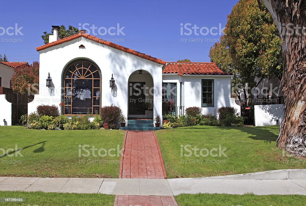 Suburban house on a sunny day stock photo