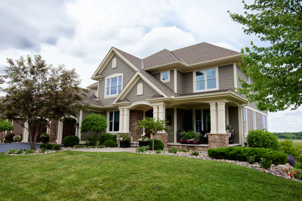 Suburban House USA, House, Residential Building, Outdoors, Building Exterior grounds stock pictures, royalty-free photos & images