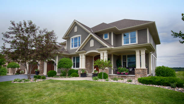 Suburban House USA, House, Residential Building, Outdoors, Building Exterior house exterior stock pictures, royalty-free photos & images