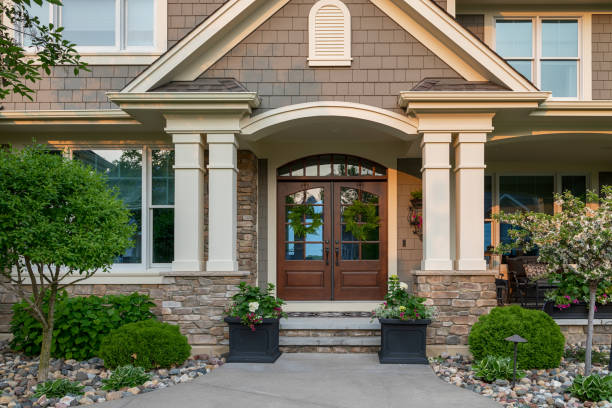 Suburban House USA, House, Residential Building, Outdoors, Building Exterior stone house stock pictures, royalty-free photos & images