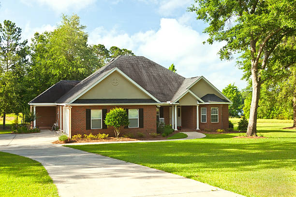 suburban house with a big yard - tradition stock pictures, royalty-free photos & images