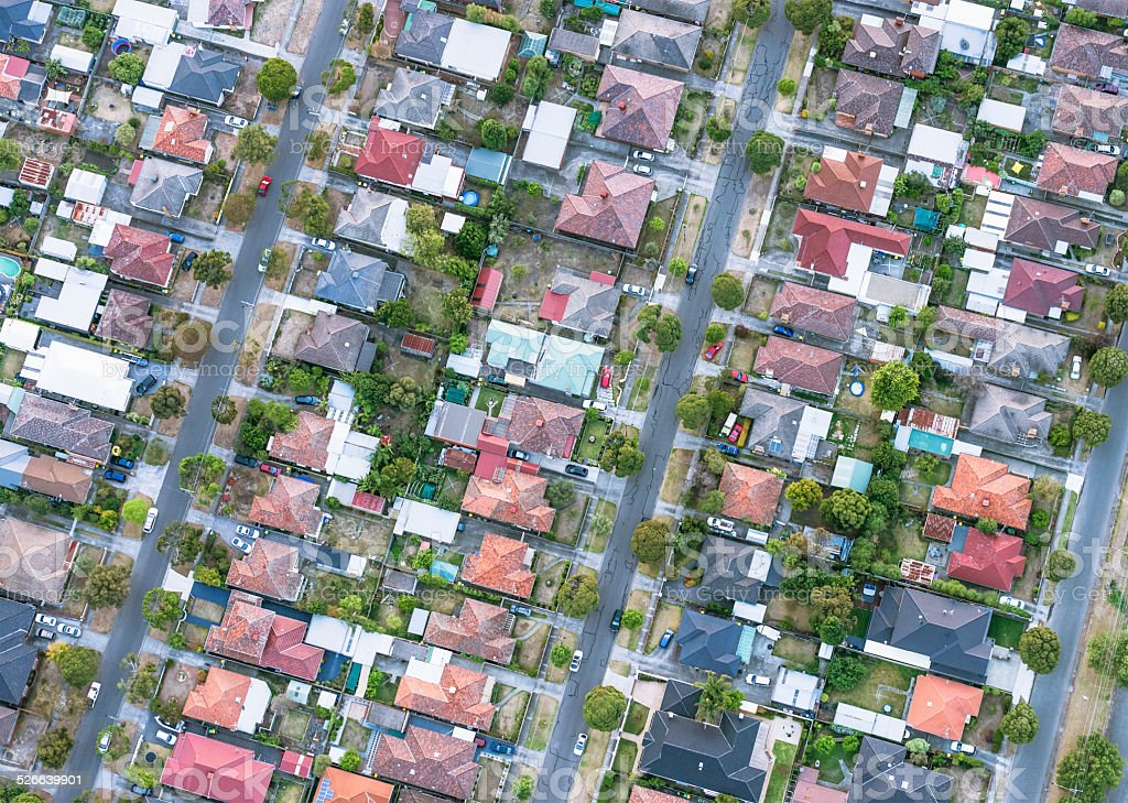 Detached suburban houses in the Australian city of Melbourne,...
