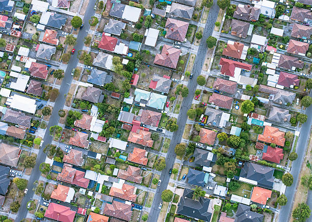 Suburban houses from directly above stock photo