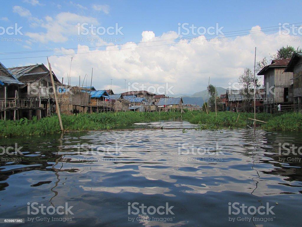 Suburban houses of Inle Lake Myanmar stock photo