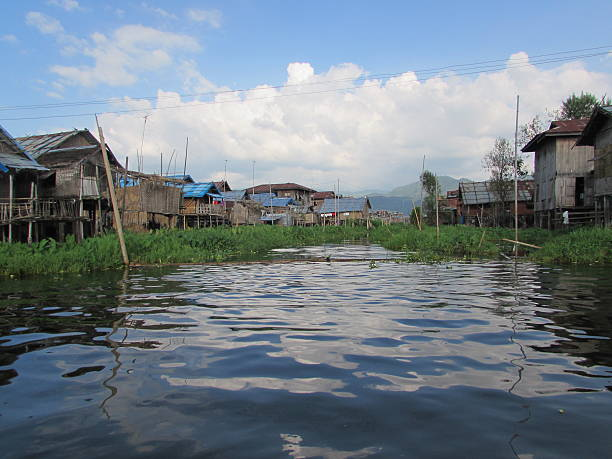 Suburban houses of Inle Lake Myanmar stock photo