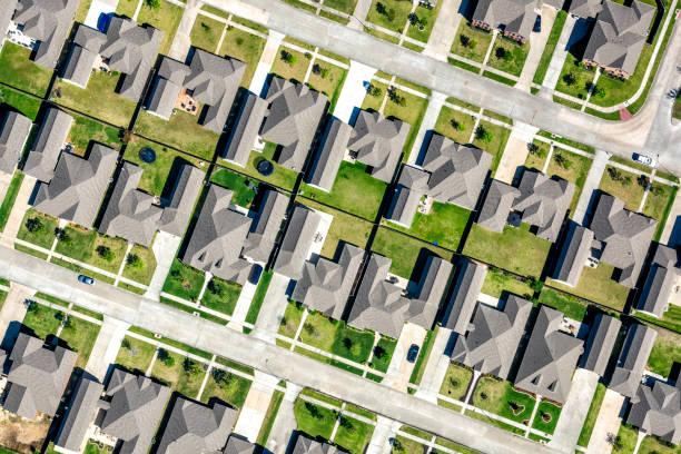 Suburban Houston Subdivision Aerial stock photo