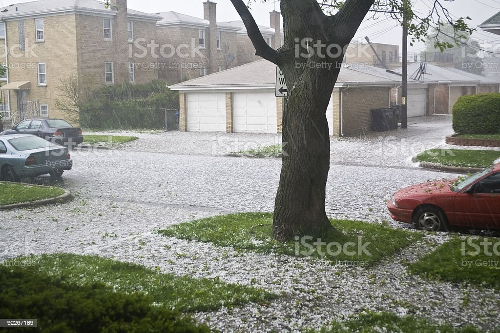 A suburban in Chicago with hail stock photo