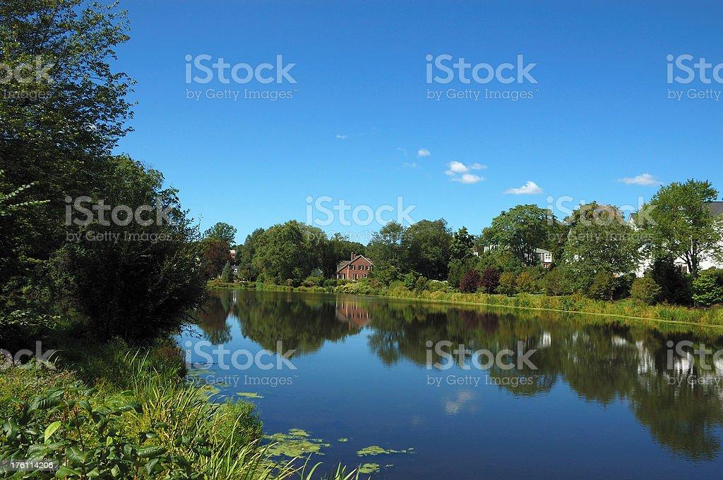 Suburban lake scene, Connecticut, New England, USA royalty-free stock photo