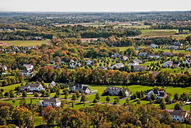 Suburban landscape stock photo
