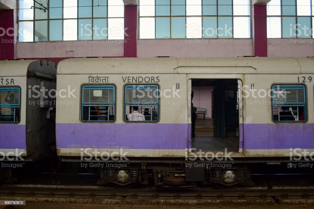 Suburban local train on station stock photo
