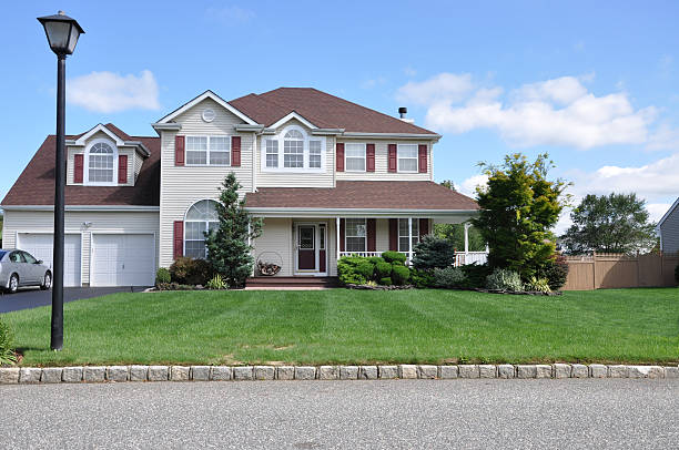 Suburban Luxury Home Landscaped Front Lawn stock photo