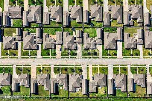 Aerial view of a suburban development in a planned residential community in the  metropolitan Houston, Texas area.