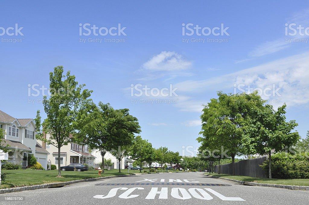 Suburban Neighborhood School Crossing Speed Bump stock photo
