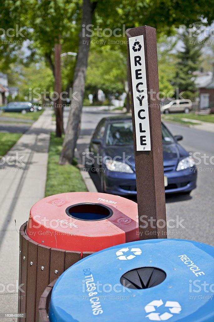 Suburban Recycling royalty-free stock photo