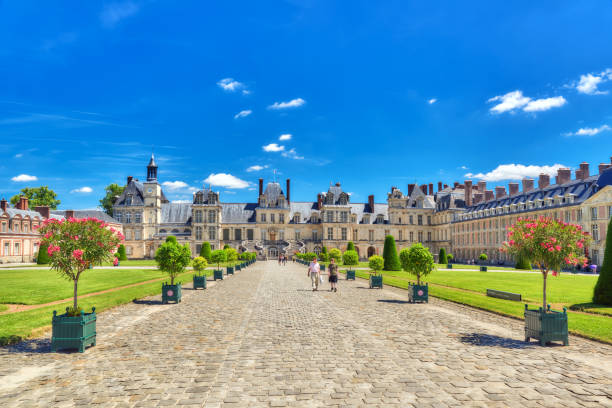 Suburban Residence of the France Kings - beautiful Chateau Fontainebleau. stock photo