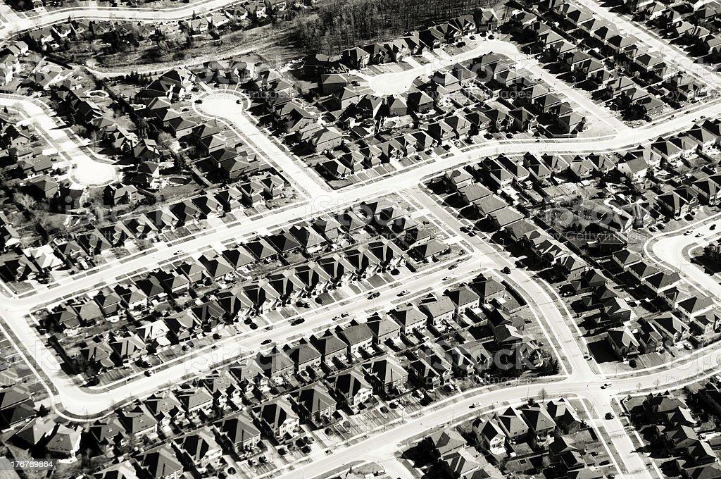 Suburban Residential Neighborhood, Aerial View royalty-free stock photo