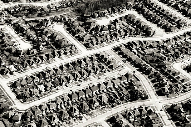 Suburban Residential Neighborhood, Aerial View stock photo