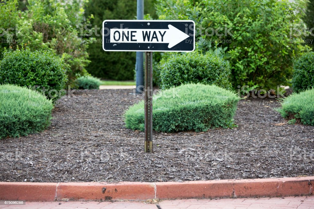 Suburban Scenes from St Louis USA, One Way right pointing street sign stock photo