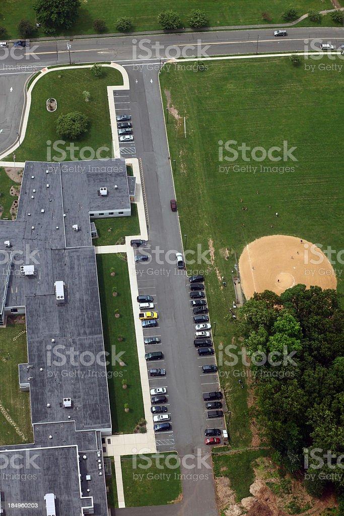 Suburban School Aerial royalty-free stock photo
