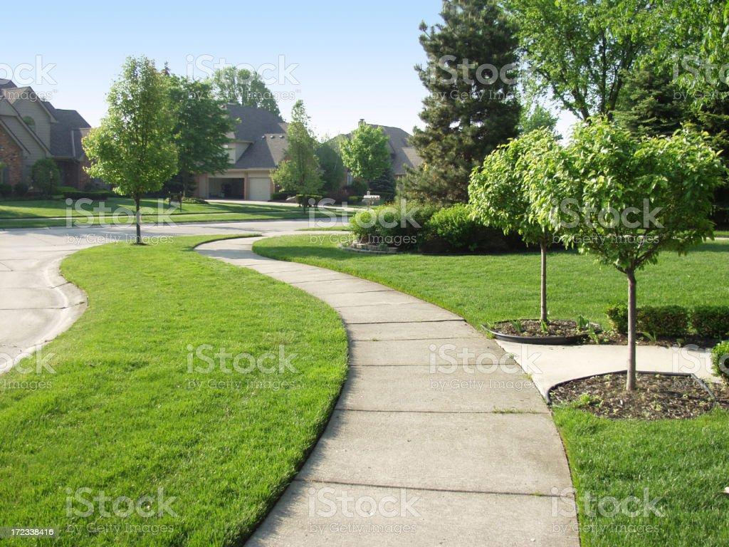 Suburban Sidewalk royalty-free stock photo