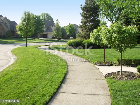 A sunny morning on a typical american suburban sidewalk