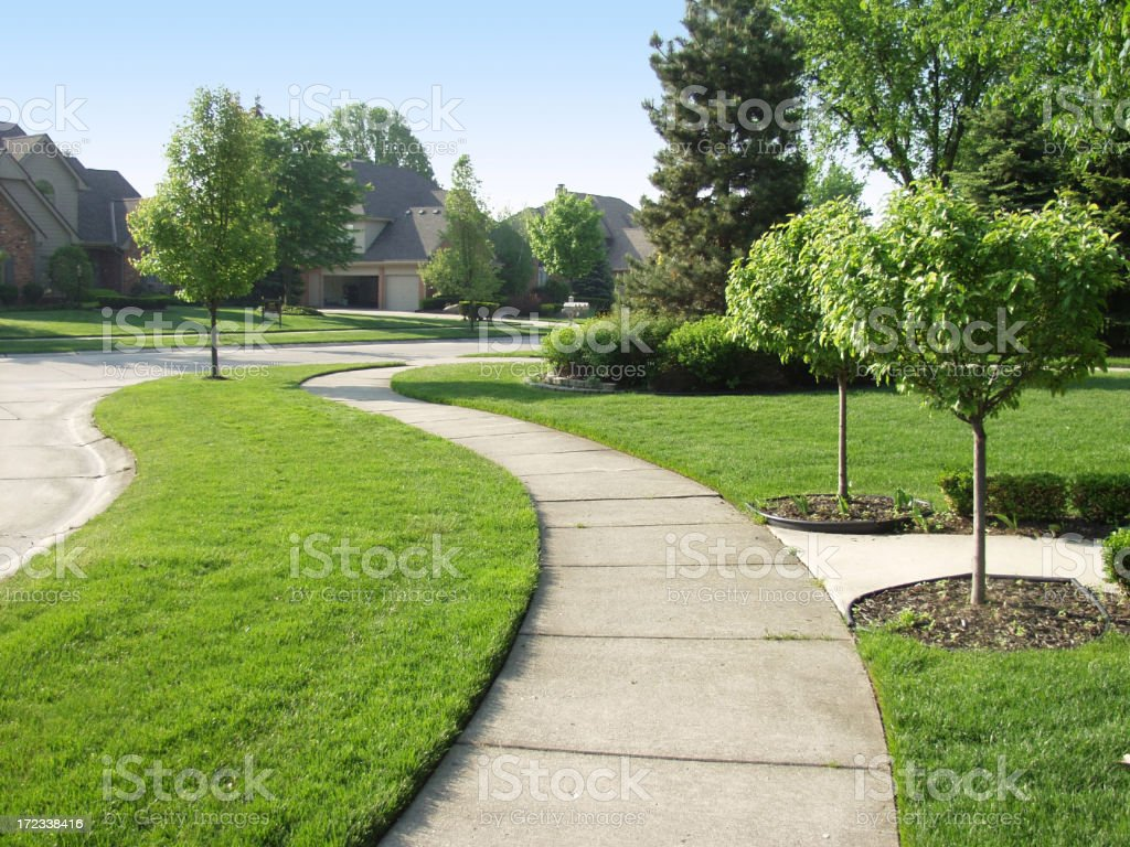 Suburban Sidewalk stock photo