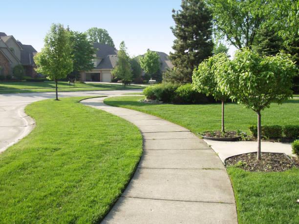 suburban sidewalk - kaldırım stok fotoğraflar ve resimler