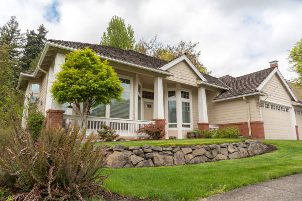 Suburban single family American home stock photo