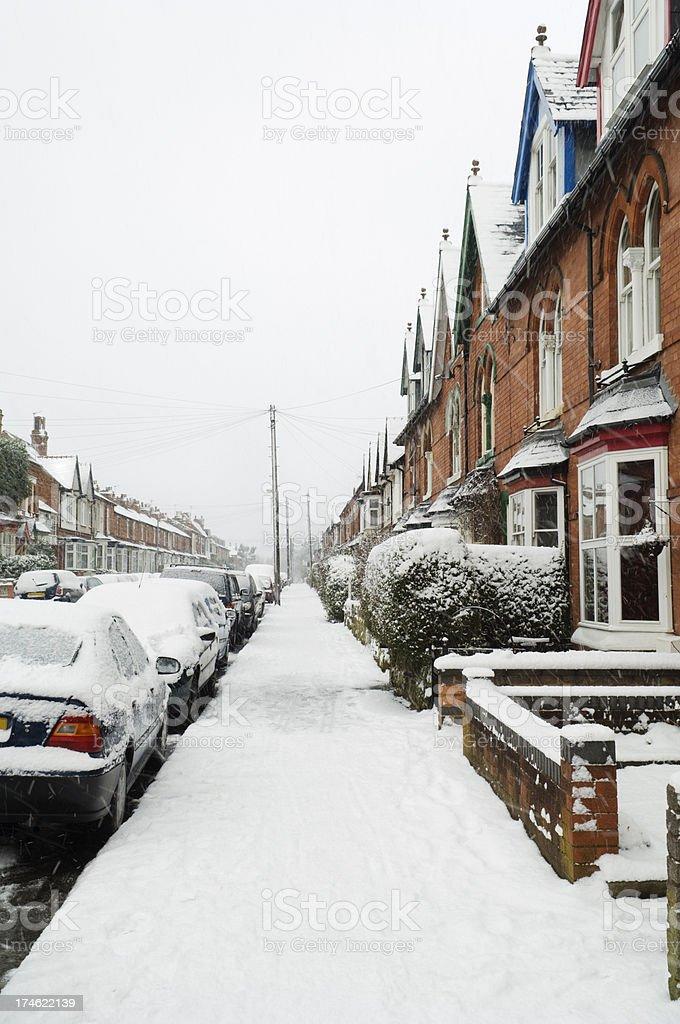 Suburban snowstorm scene royalty-free stock photo