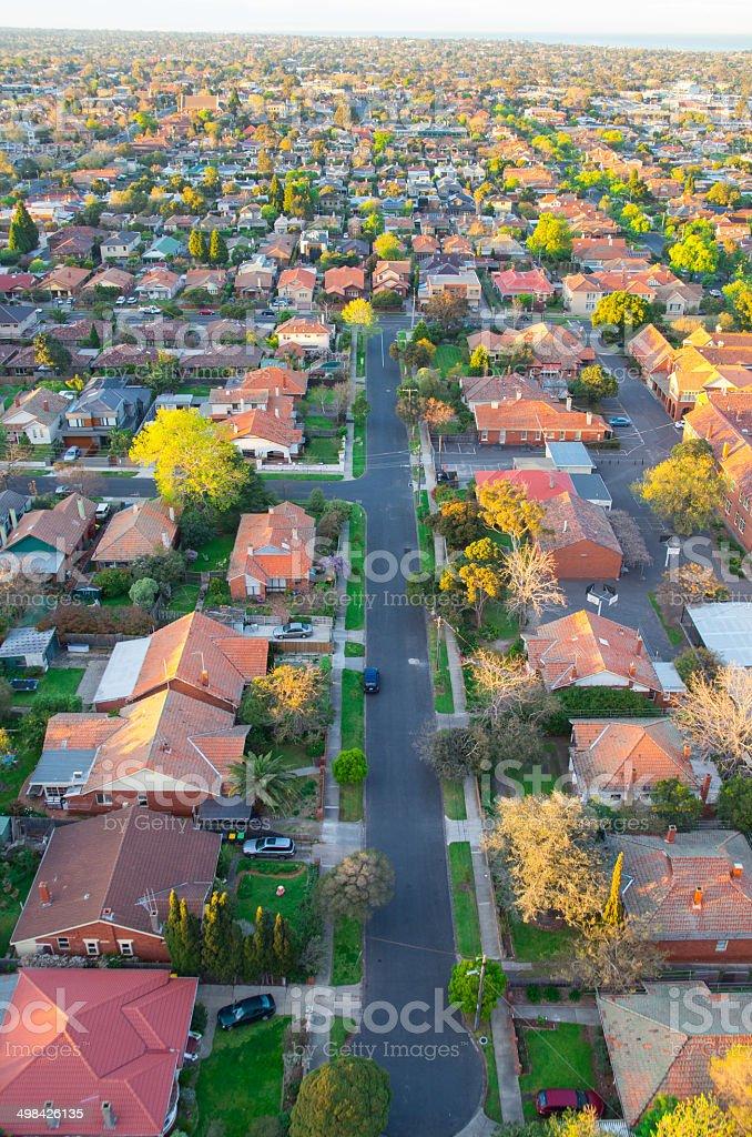 Suburban street in Melbourne, Australia stock photo