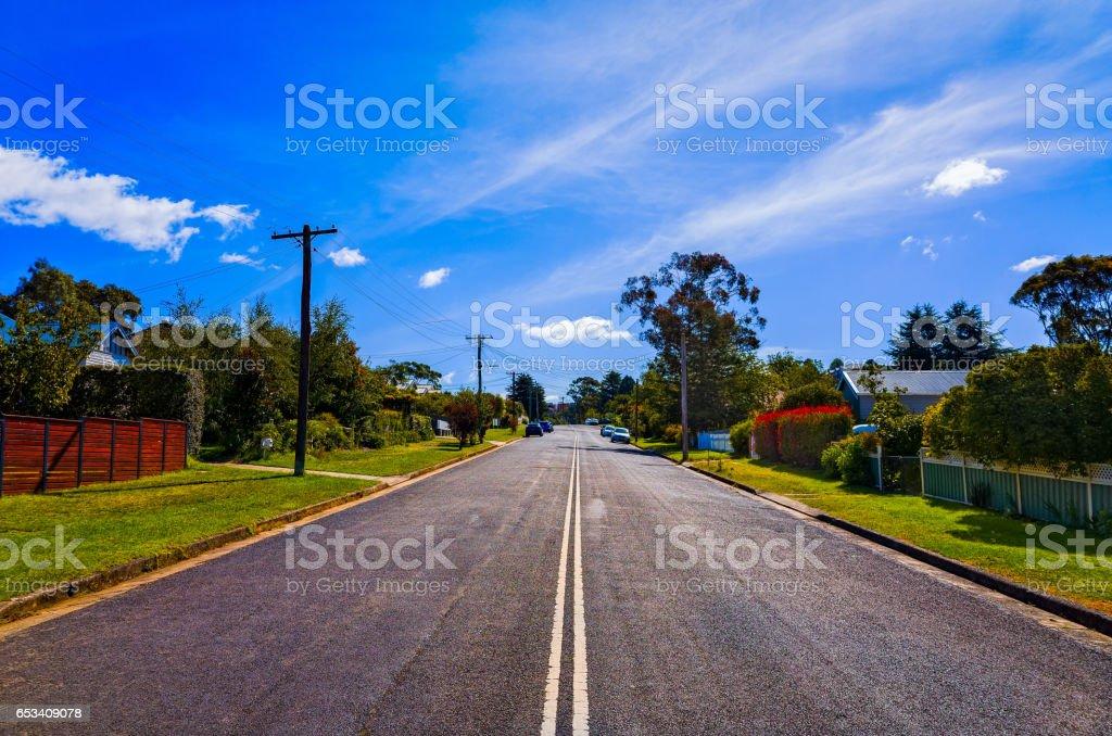 Suburban Street with Houses in Blue Mountains Australia stock photo