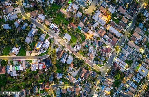 istock Suburban streets at dusk in Los Angeles 1130973907