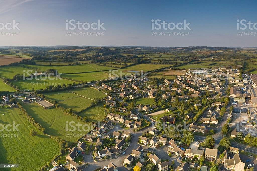 Suburban streets, farmland vista stock photo