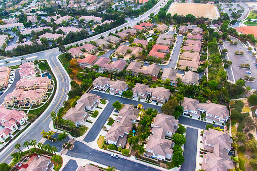 An aerial view of a newly built subdivision in the suburban San Diego community of Carlsbad, California.