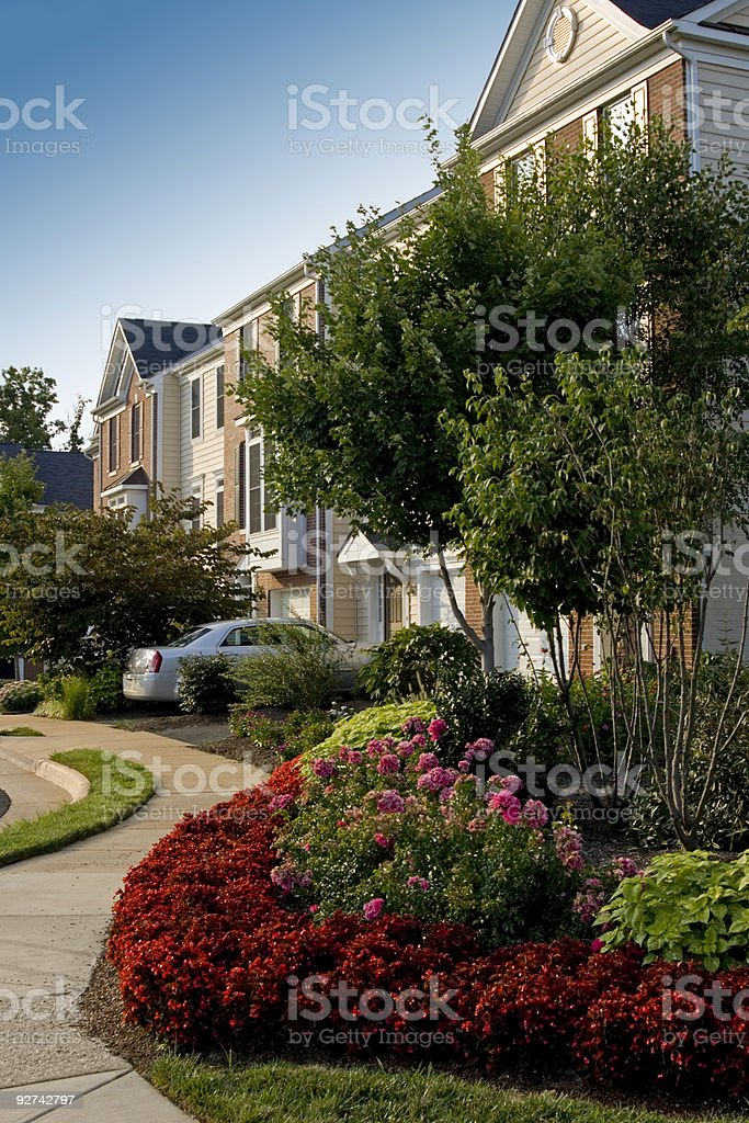 Suburban townhomes with landscaping royalty-free stock photo