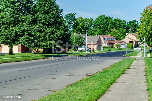 Suburban tree lined street with two storey houses in the summer