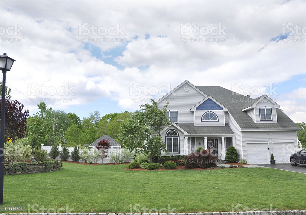 Suburban Two Car Garage Home stock photo