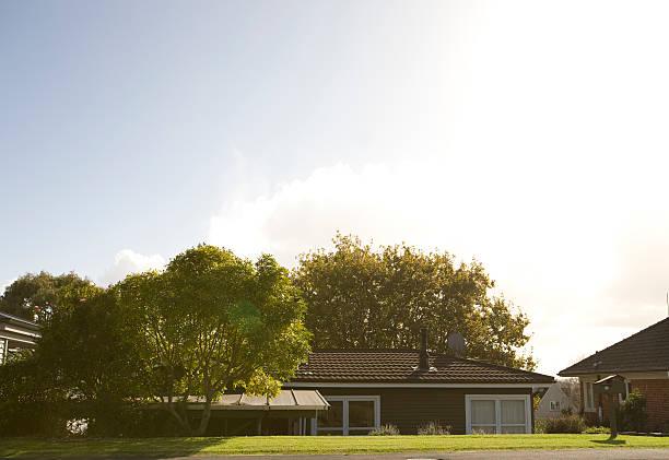 Suburban weatherboard house New Zealand stock photo