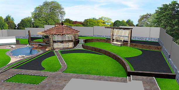 suburban yard landscaping wide angle view, 3d render - gartenillustration stock-fotos und bilder