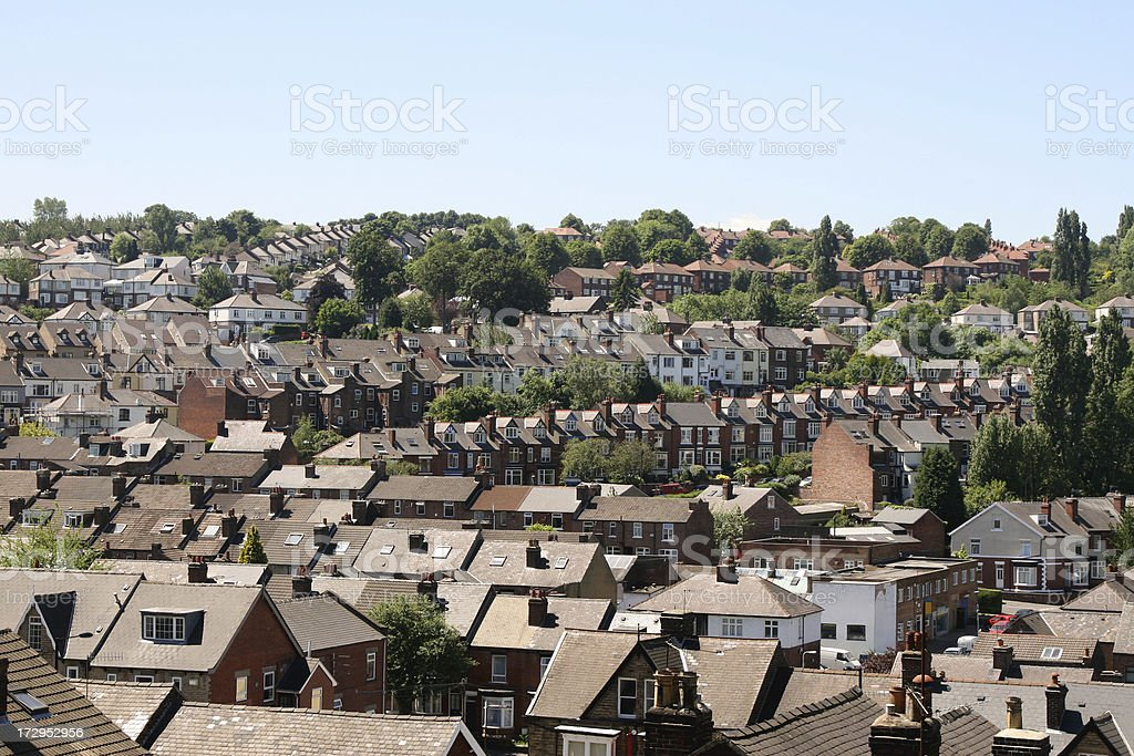 Suburbia Sheffield South Yorkshire - terraced houses and roofs stock photo
