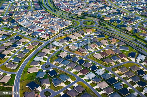 Housing development in Orlando suburbs of The Villages, Florida.