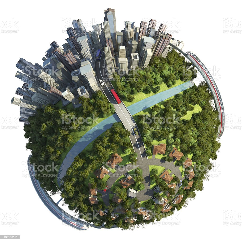 Suburbs and city globe concept stock photo