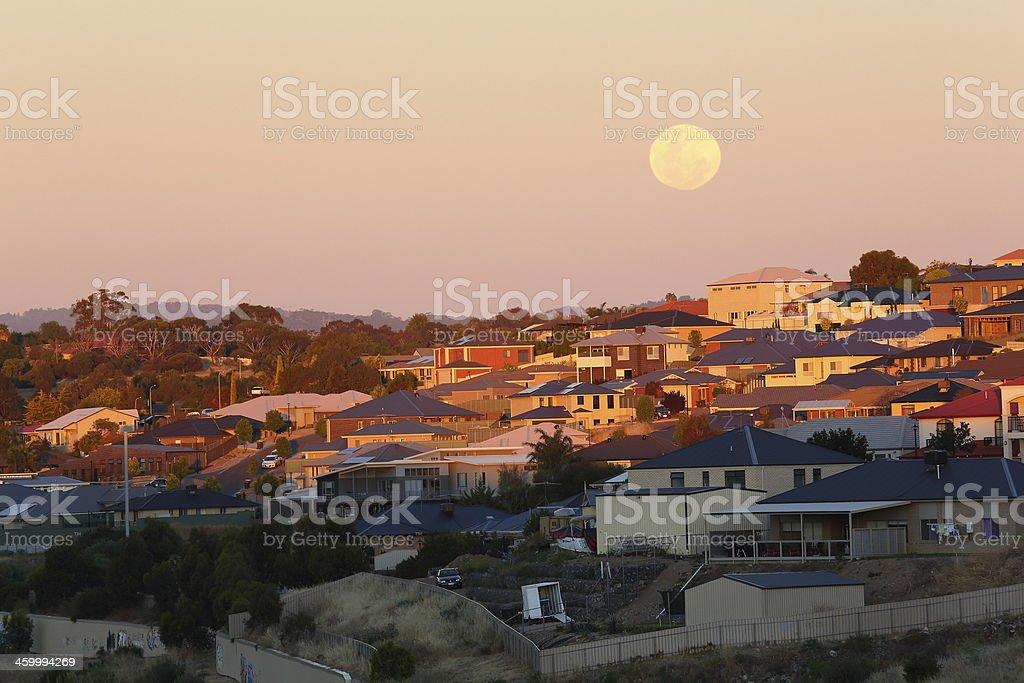 Suburbs at sun set stock photo