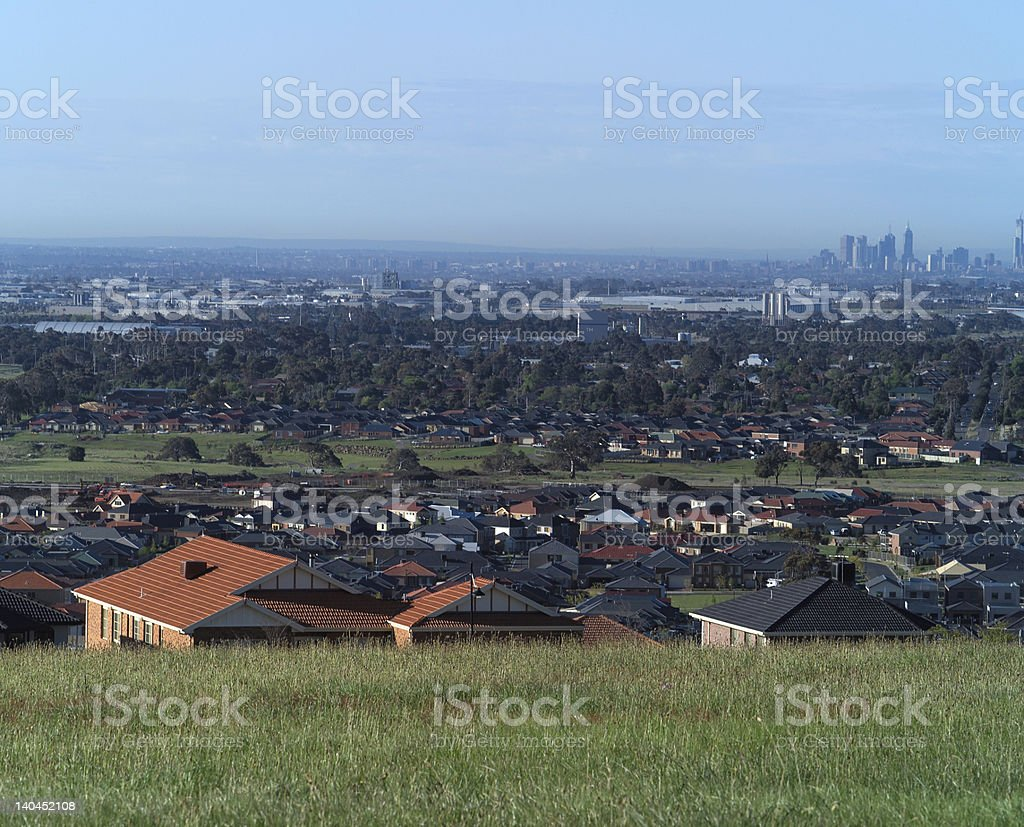 Suburbs from morning hilltop royalty-free stock photo