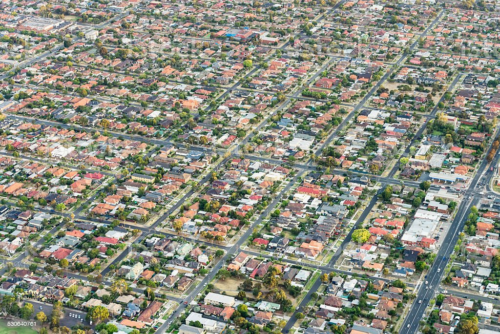 Suburbs from the air stock photo
