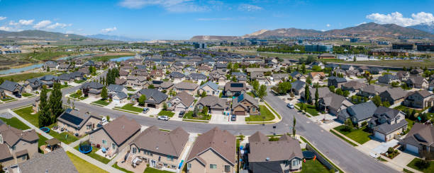 suburbs to salt lake city, utah, seen from air - residential district stock pictures, royalty-free photos & images
