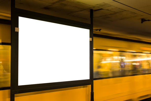 subway ad utrymme tom isolerade vit kopia space city stadsmiljö billboard - billboard train station bildbanksfoton och bilder