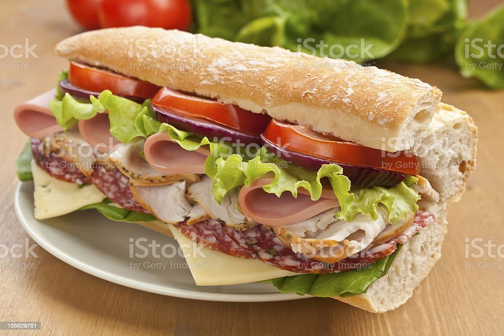 Subway Baguette Sandwich royalty-free stock photo