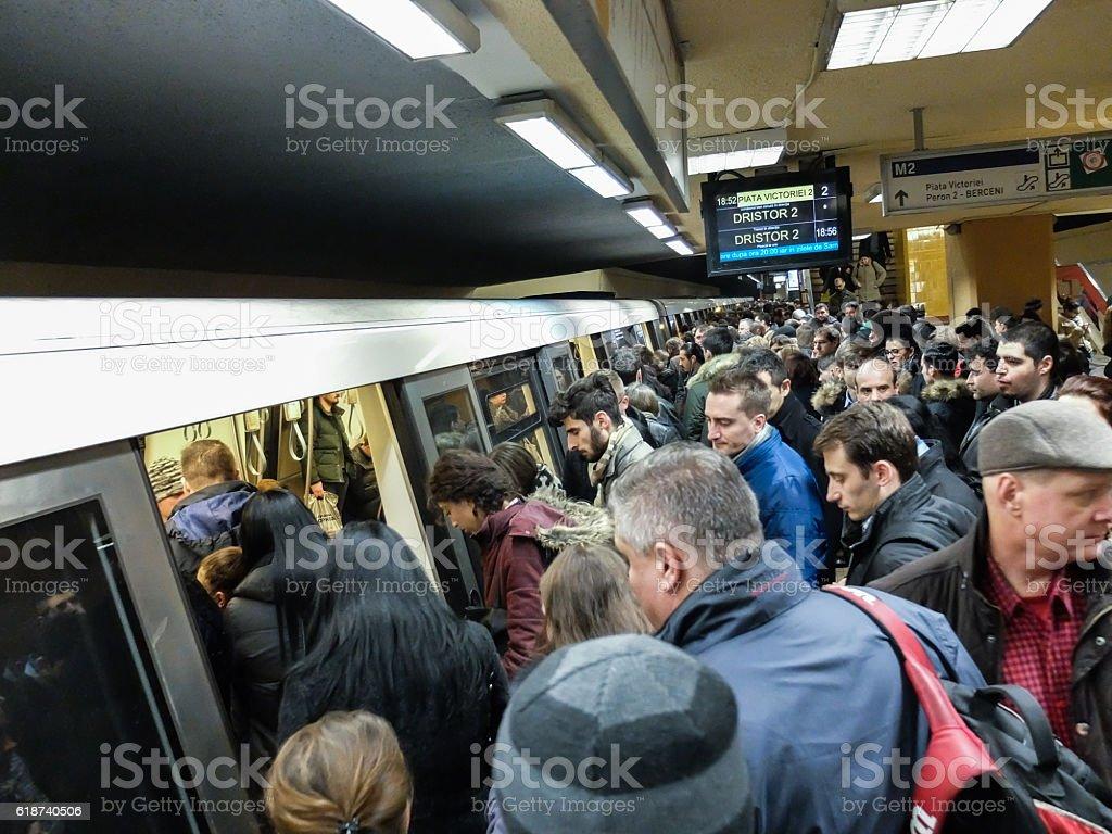 Subway crowd stock photo