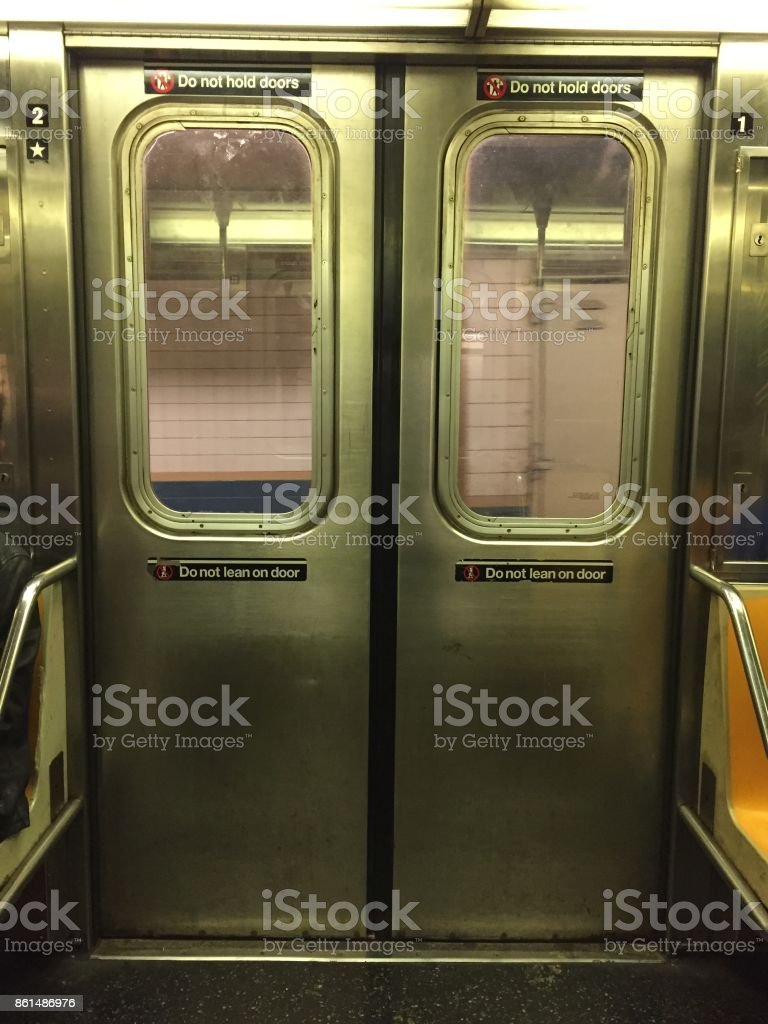 Subway Doors stock photo & Royalty Free New York Subway Train Door Pictures Images and Stock ...